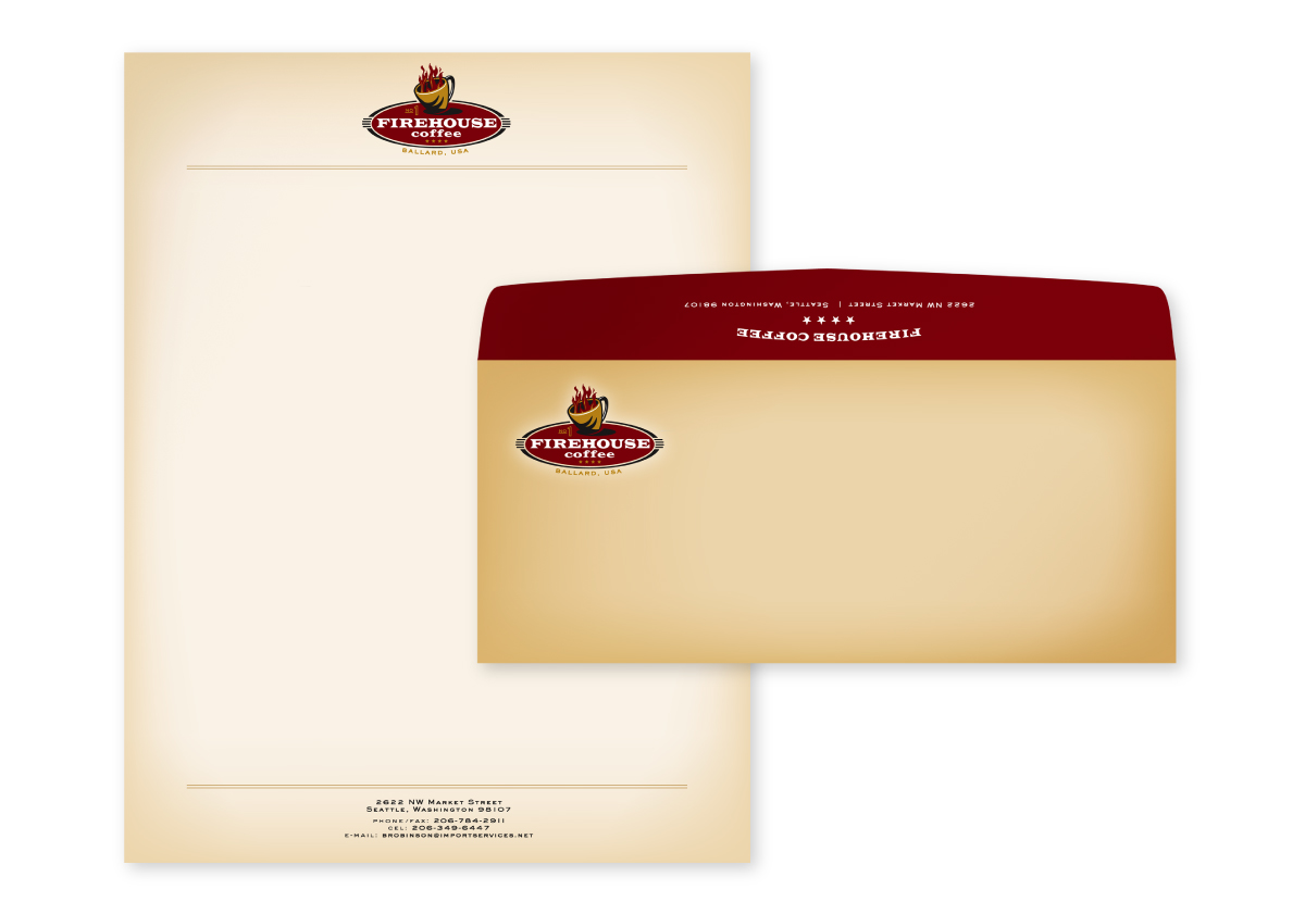 Firehouse Coffee Letterhead and Envelope