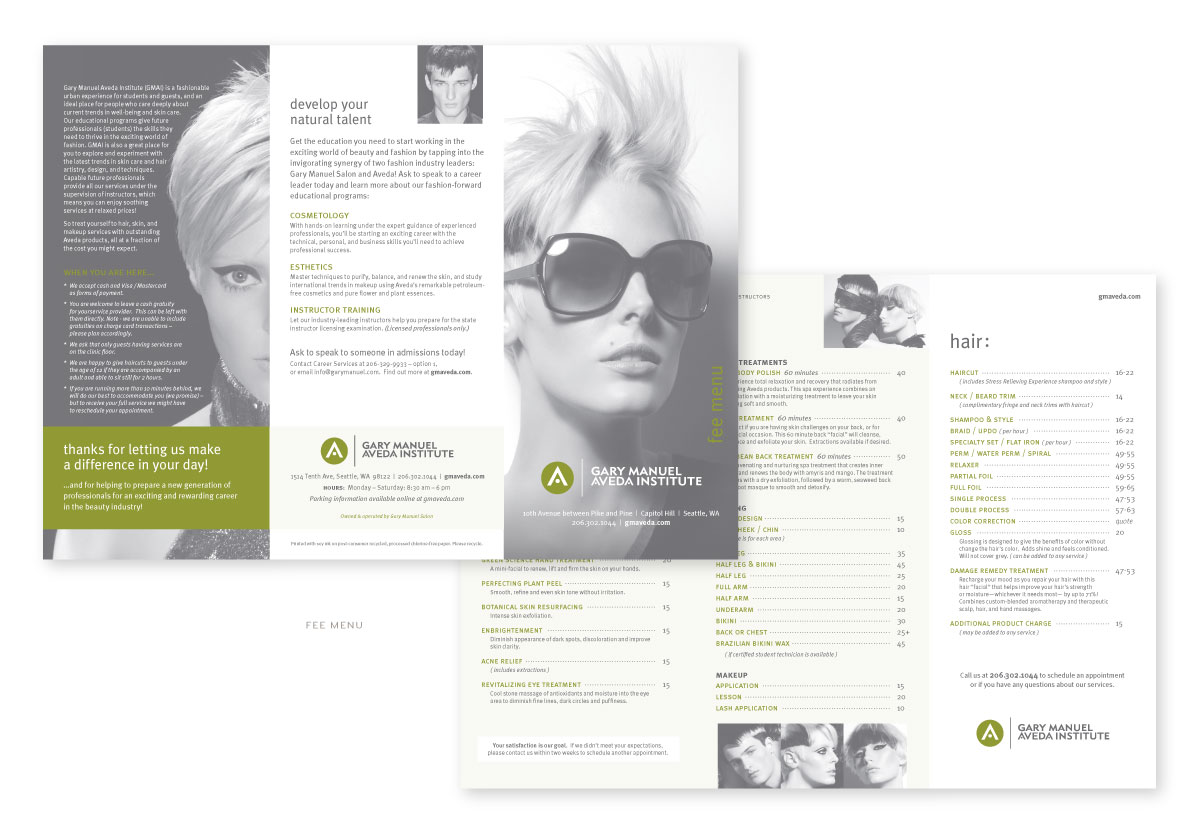 Gary Manuel Aveda Institute Fee Menu