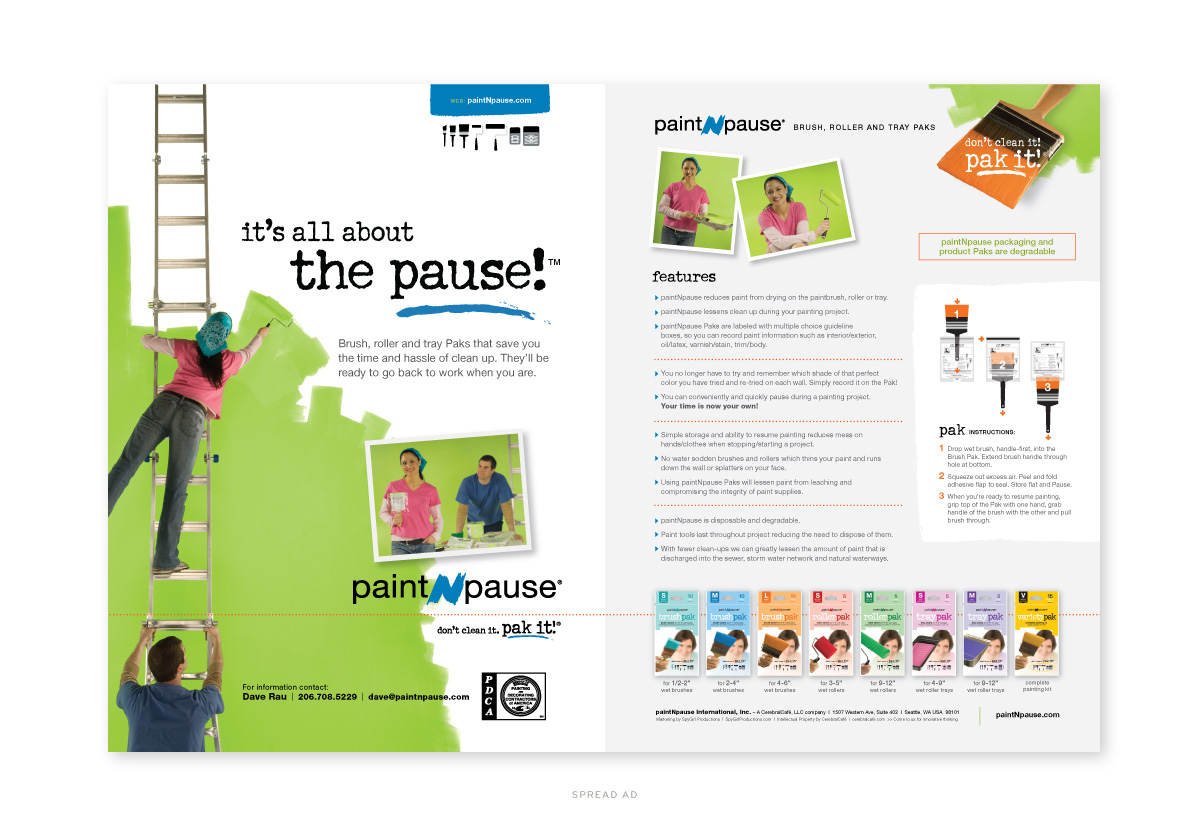 Paint-n-Pause Spread Ad