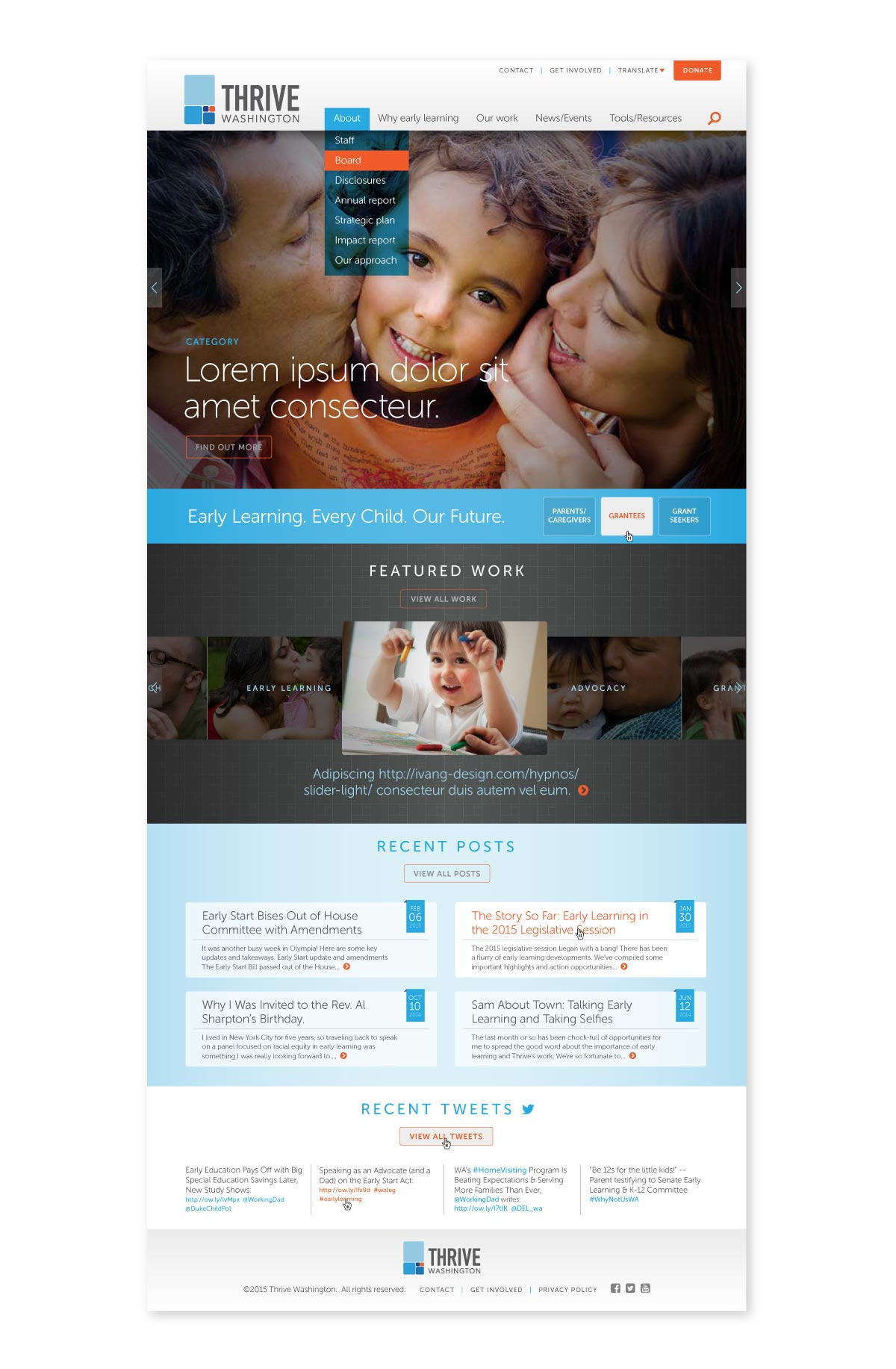 Thrive WA desktop landing page
