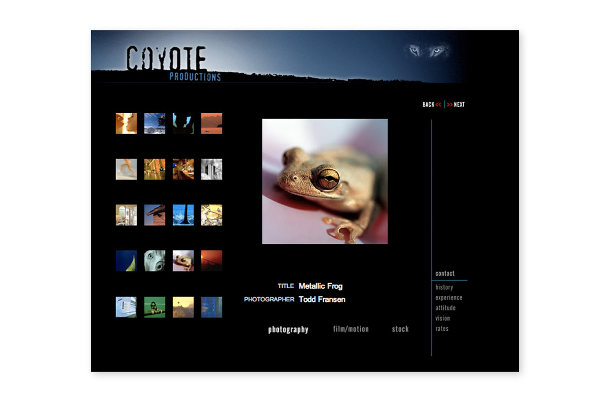 Coyote Productions website interior page