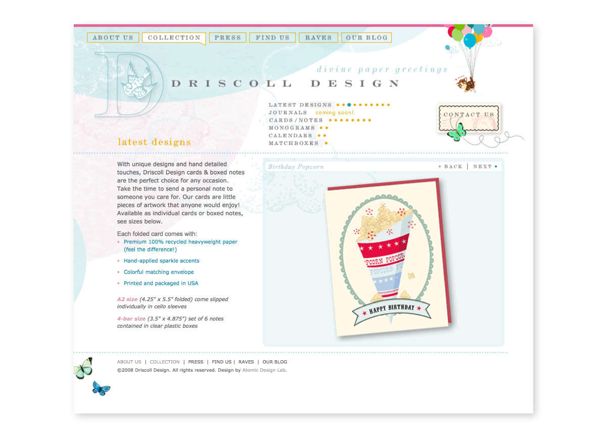 Driscoll Design website interior page