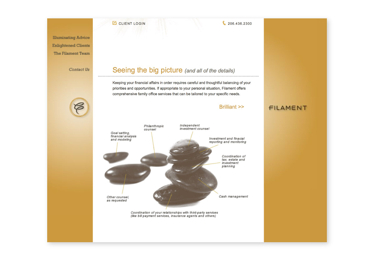 Filament Advisors website interior page