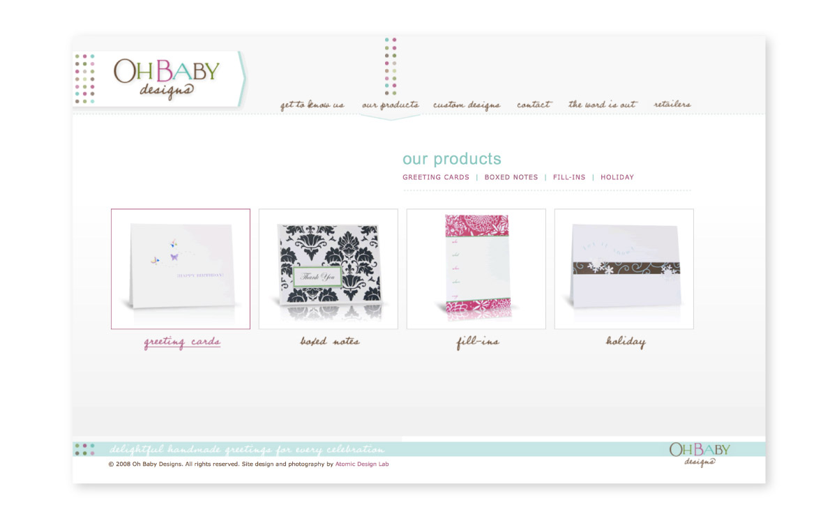 Oh Baby! website interior page