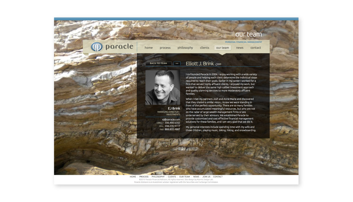 Paracle website interior page