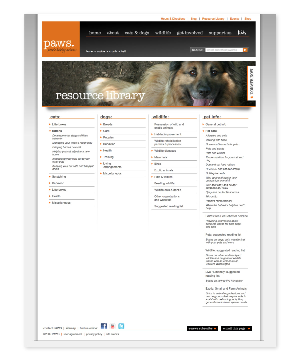 PAWS website interior page