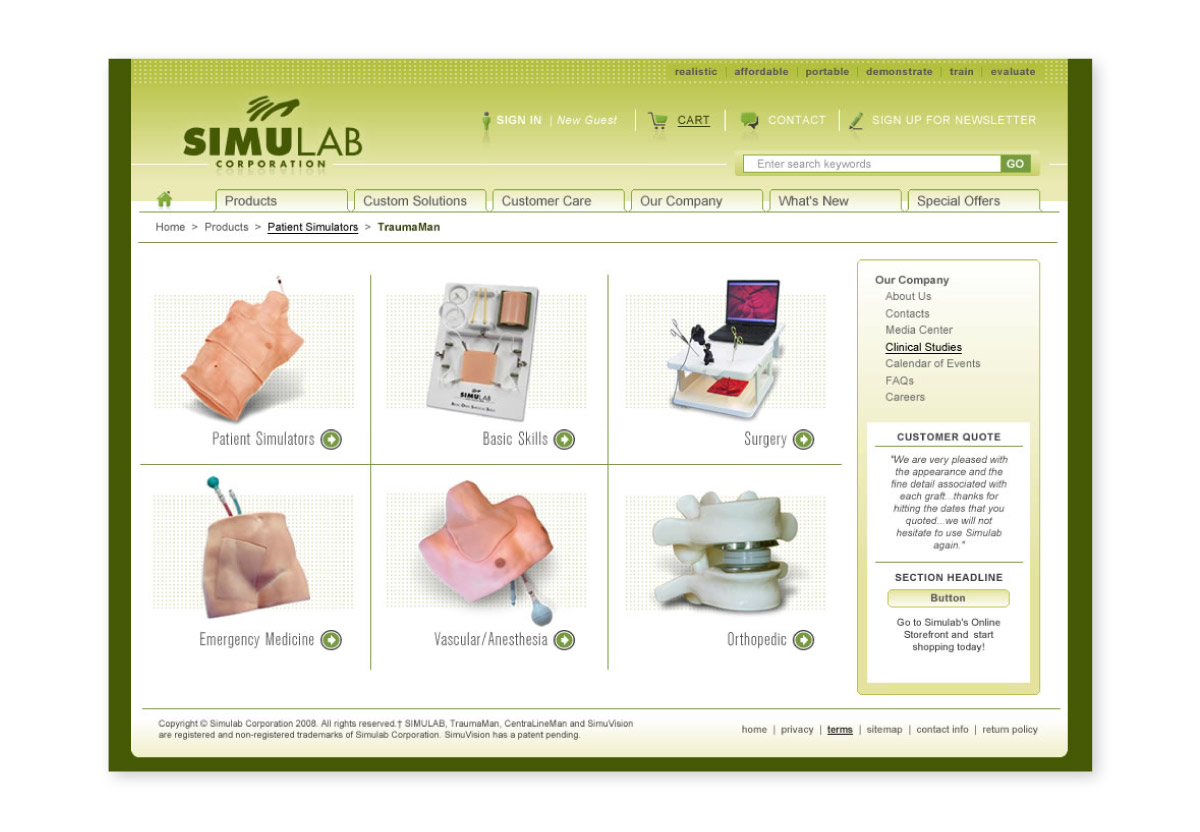 Simulab website interior page