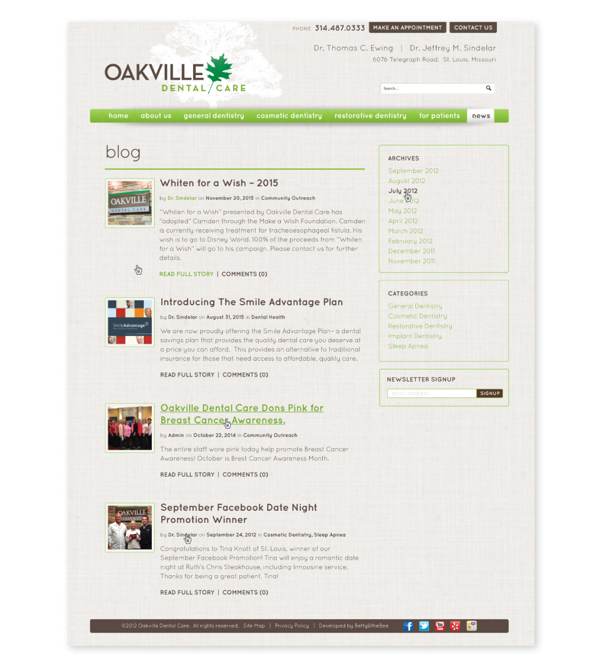 Oakville website interior page