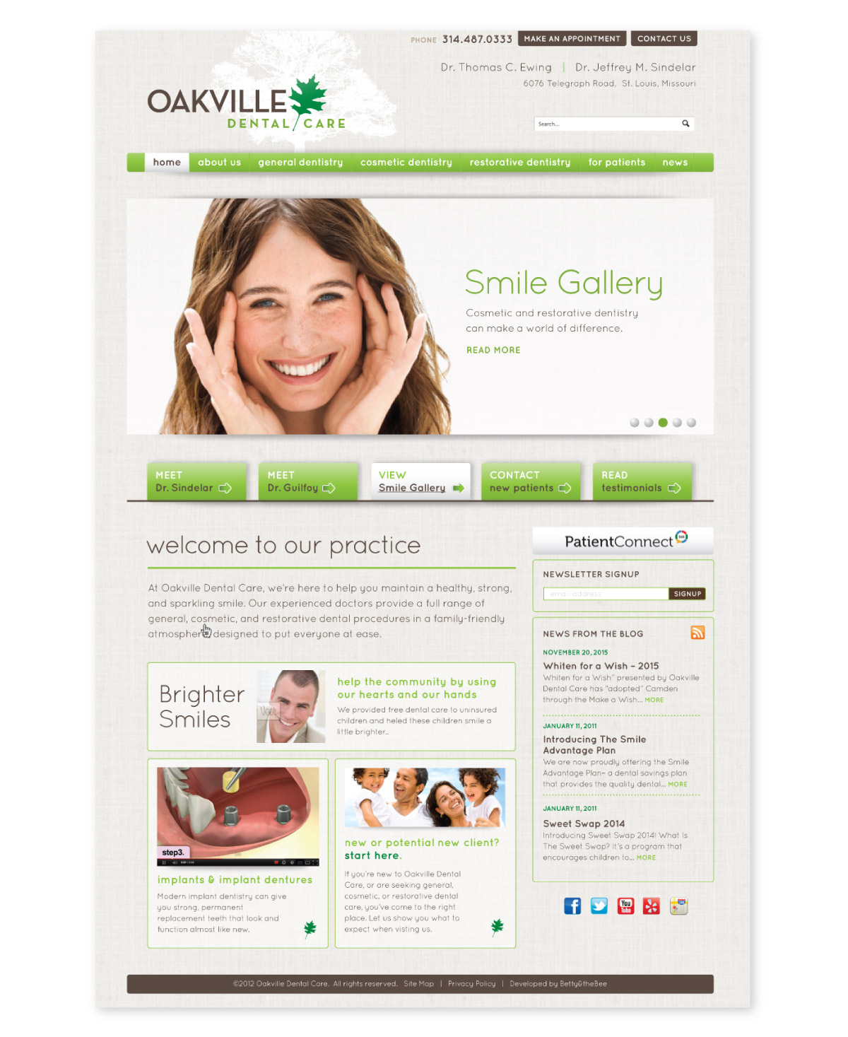 Oakville website landing page