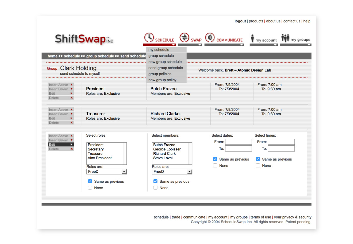 ShiftSwap website interior page